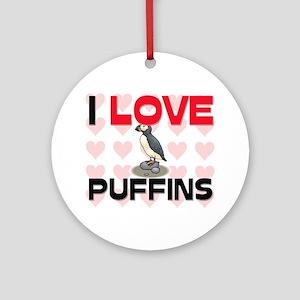 I Love Puffins Ornament (Round)