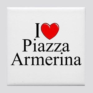 """I Love (Heart) Piazza Armerina"" Tile Coaster"