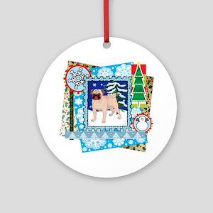 Scrapbook Pug Christmas Ornament (Round)