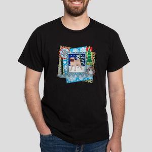 Scrapbook Pug Christmas Dark T-Shirt