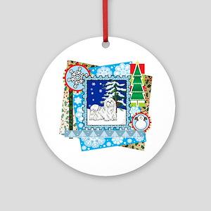 Scrapbook Maltese Christmas Ornament (Round)