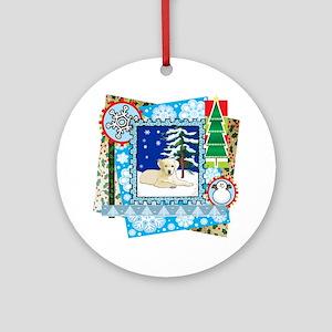 Scrapbook Yellow Lab Christmas Ornament (Round)