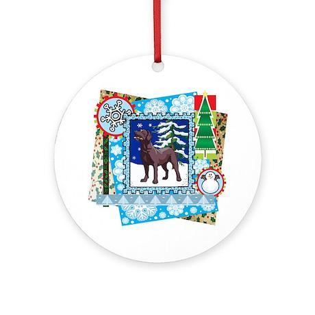 Scrapbook Chocolate Lab Christmas Ornament (Round)