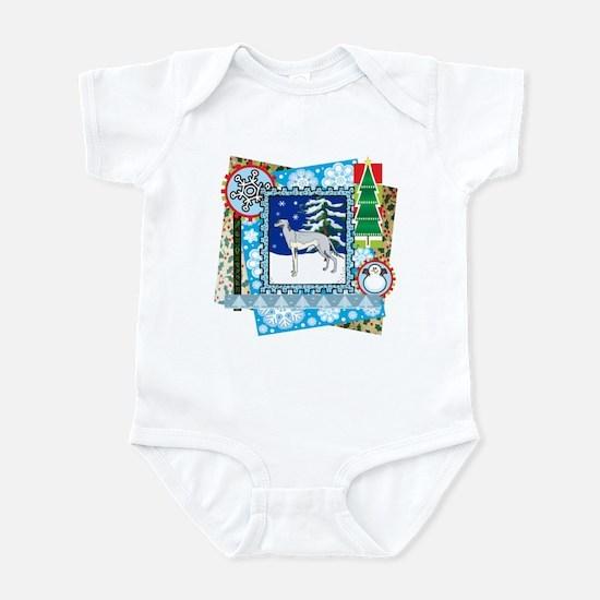 Scrapbook Greyhound Christmas Infant Bodysuit