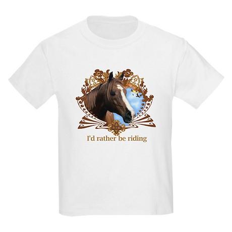 I'd Rather Be Riding Horses Kids Light T-Shirt