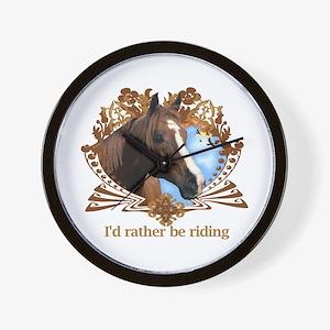 I'd Rather Be Riding Horses Wall Clock