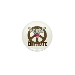 Peace Love and Chocolate Mini Button (100 pack)
