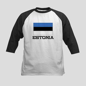 Estonia Flag Kids Baseball Jersey