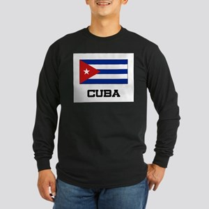 Cuba Flag Long Sleeve Dark T-Shirt