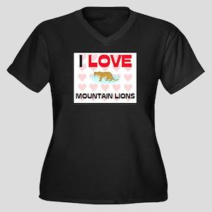 I Love Mountain Lions Women's Plus Size V-Neck Dar