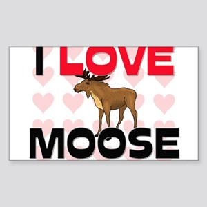 I Love Moose Rectangle Sticker