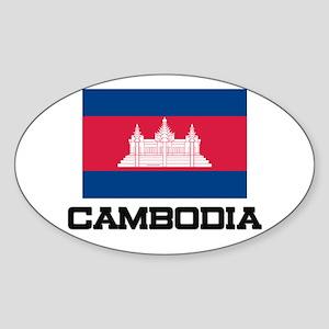 Cambodia Flag Oval Sticker