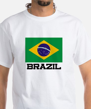 Brazil Flag White T-Shirt