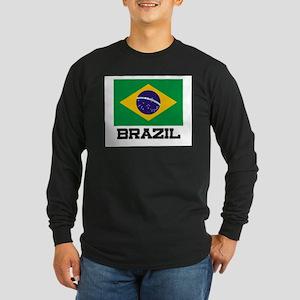 Brazil Flag Long Sleeve Dark T-Shirt