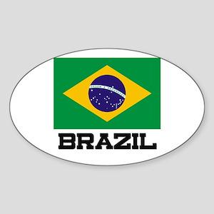 Brazil Flag Oval Sticker