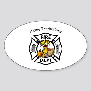 Firefighter Thanksgiving Sticker (Oval)