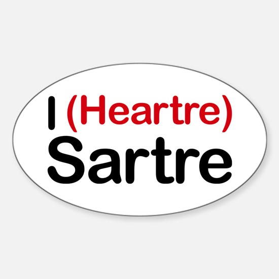 I Heartre Sartre Oval Decal