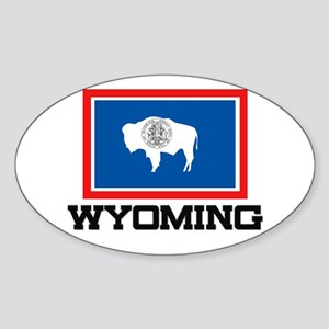 Wyoming Flag Oval Sticker
