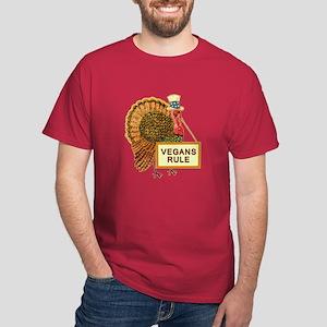 Vegans Rule Funny Turkey Dark T-Shirt