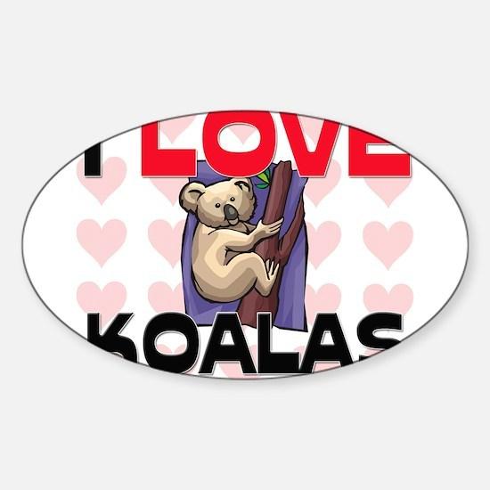 I Love Koalas Oval Decal