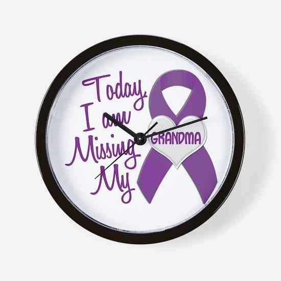 Missing My Grandma 1 PURPLE Wall Clock