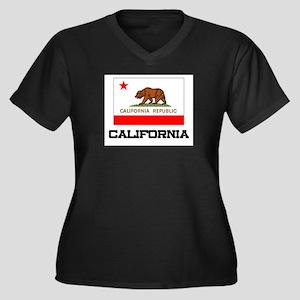 California Flag Women's Plus Size V-Neck Dark T-Sh