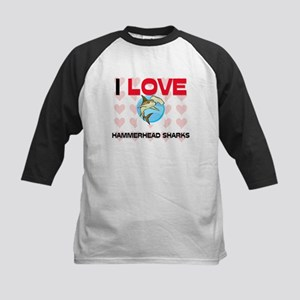 I Love Hammerhead Sharks Kids Baseball Jersey