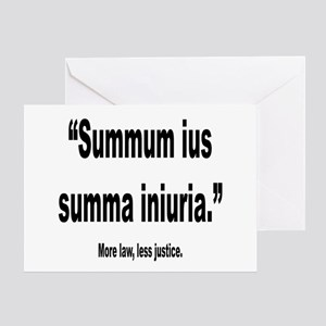 Funny latin quotes greeting cards cafepress latin more law less justice quote greeting card m4hsunfo