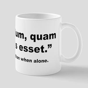 Latin Less Alone Quote Mug
