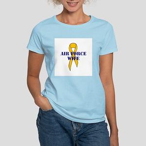 USAF WIFE, My Husand is defen Women's Pink T-Shirt