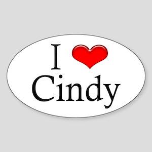 I Love Cindy Oval Sticker