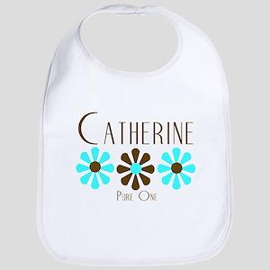 Catherine - Blue/Brown Flower Bib