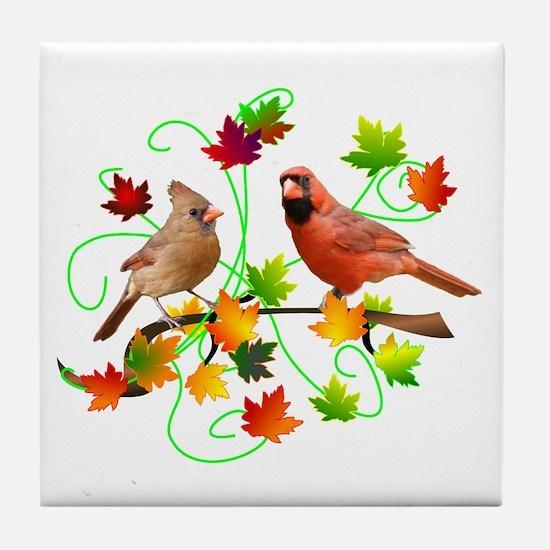Cardinal Couple Tile Coaster
