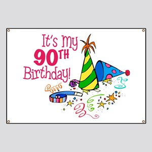 It's My 90th Birthday (Party Hats) Banner