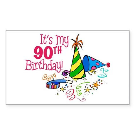 It's My 90th Birthday (Party Hats) Sticker (Rectan