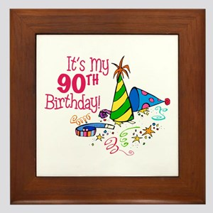 Its My 90th Birthday Party Hats Framed Tile