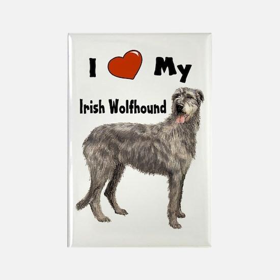 I Love My Irish Wolfhound Rectangle Magnet