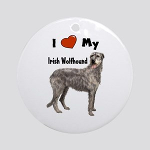 I Love My Irish Wolfhound Ornament (Round)