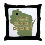 Wisconsin State Cornhole Cham Throw Pillow