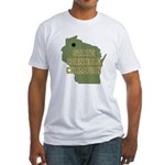 Wisconsin State Cornhole Cham Fitted T-Shirt
