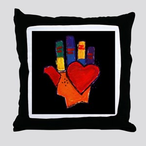 Hand and Heart Throw Pillow