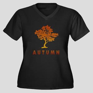 Autumn Tree Women's Plus Size V-Neck Dark T-Shirt