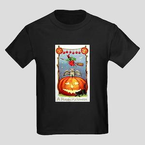 Happy Halloween Witch Kids Dark T-Shirt