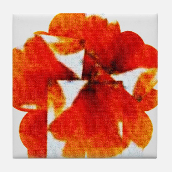 ORANGE TULIP Tile Coaster