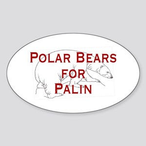 Polar Bears for Palin Oval Sticker