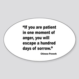 Patient Anger Sorrow Proverb Oval Sticker