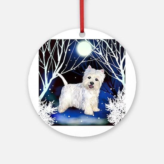 WESTIE DOG WINTER FOREST Keepsake (Round)
