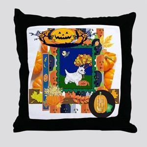 Scrapbook Westie Halloween Throw Pillow