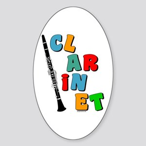 Colorful Clarinet Oval Sticker