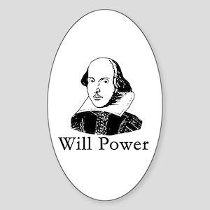 William Shakespeare WILL POWER Oval Sticker